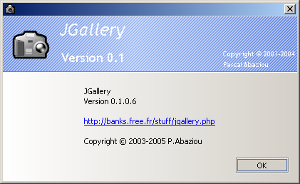 JGallery 0.1.0.6 pre1 : about box